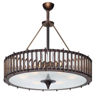 Murano Glass Tube and Bronze Chandelier For Sale