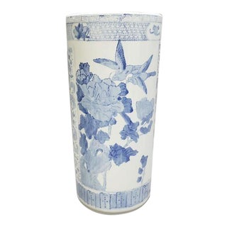 1960s Chinese Blue and White Ceramic Umbrella Stand For Sale