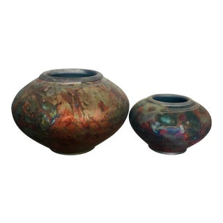 1990s Raku Pottery Vessels - a Pair For Sale