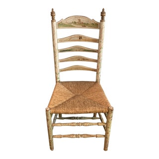 Vintage Painted Ladder Back Woven Seat Chair For Sale