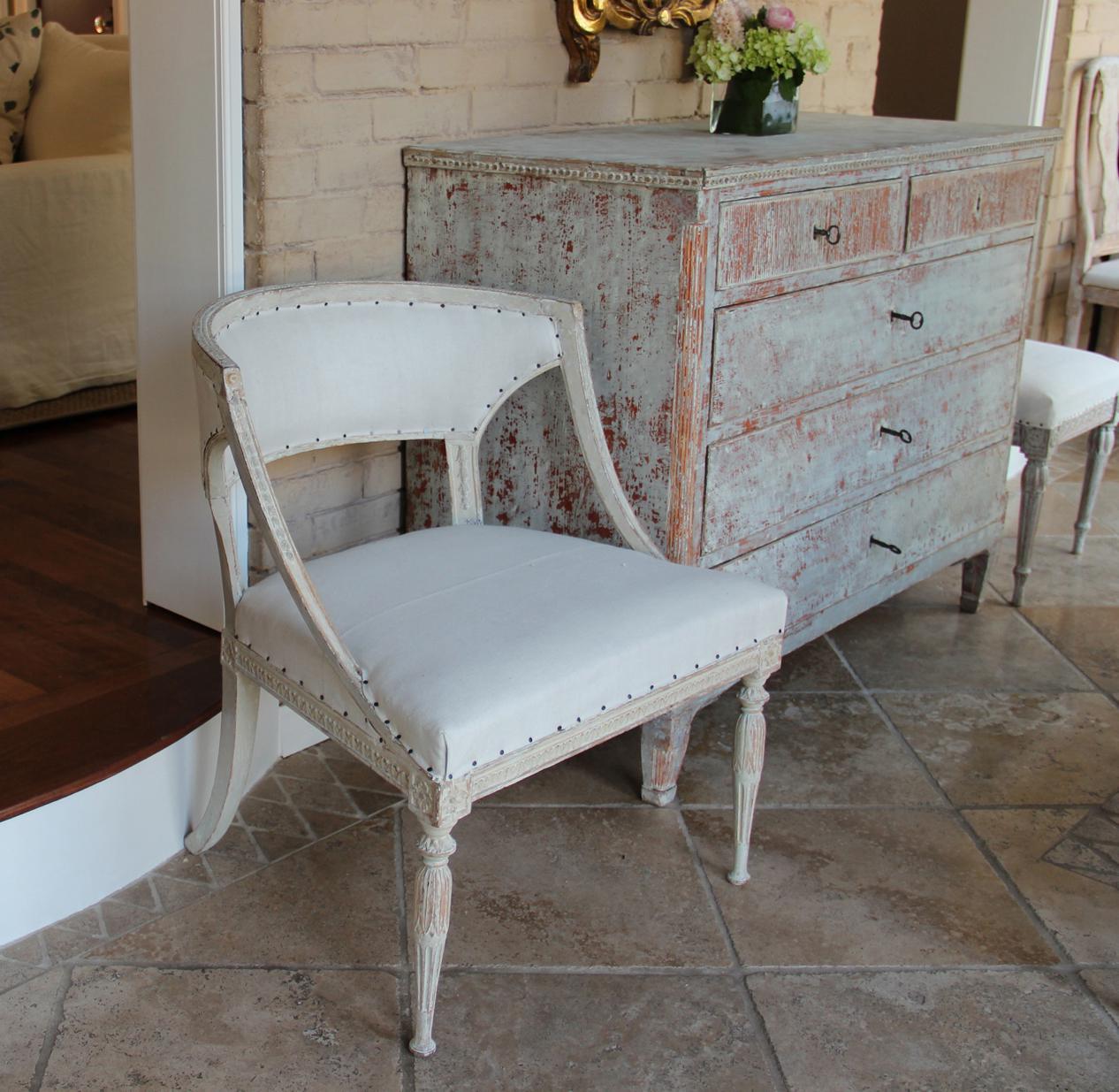 18th Century Swedish Gustavian Period Original Paint Chair Signed Ephraim  Stahl For Sale   Image 12