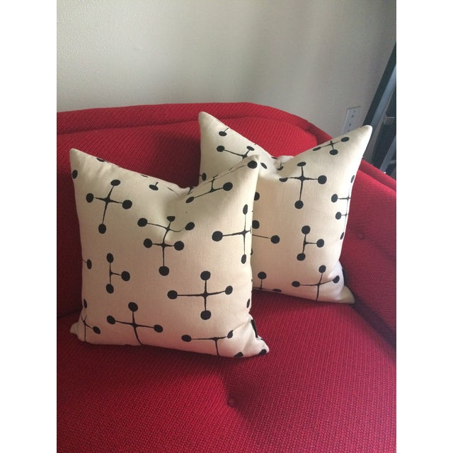 Boho Chic Herman Miller for Eames Maharam Dot Pattern Pillows - a Pair For Sale - Image 3 of 4
