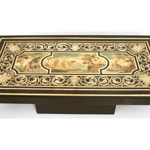 Italian Neoclassical scagliola table top coffee table with a centered eighteenth century Classical scene set in a black...