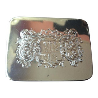 Vintage Silver Box With Attached Lid For Sale