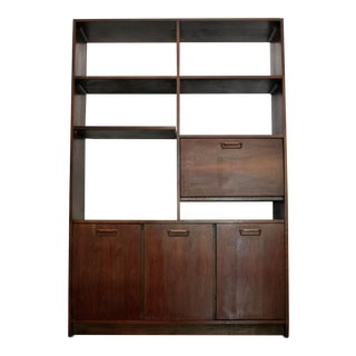 Danish Modern Room Divider Bookcase in Walnut For Sale