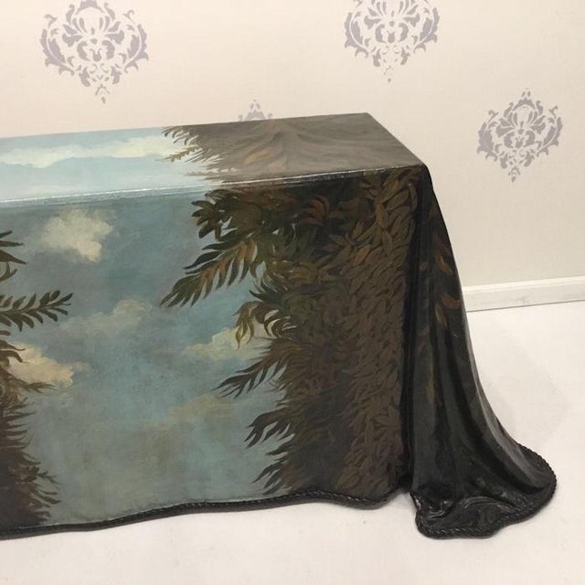Orange 1980s Realism Draped Leopard Painting Console Table For Sale - Image 8 of 11