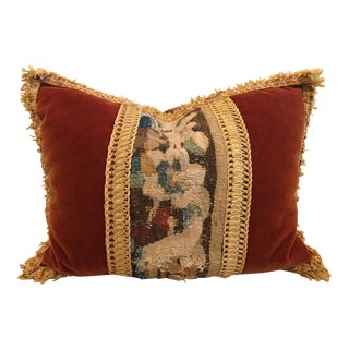 Rectangular 1900's Abusson Tapestry Panel With Mohair Velvet Accent Pillow For Sale