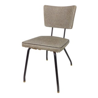 Naugahyde Mid-Century Modern Industrial Metal Bistro Chair For Sale