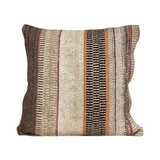 Kim Salmela Modern Peruvian Kilim Striped Square Pillow For Sale