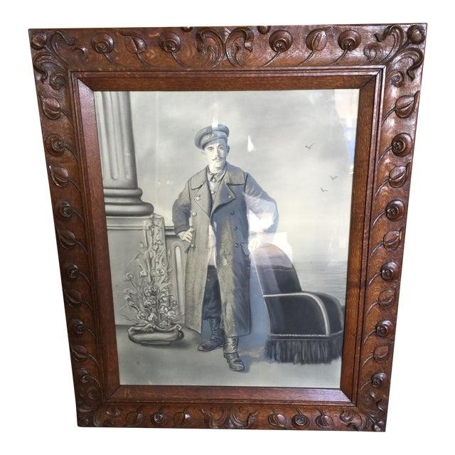 Antique Hand Carved Frame Art Nouveau For Sale