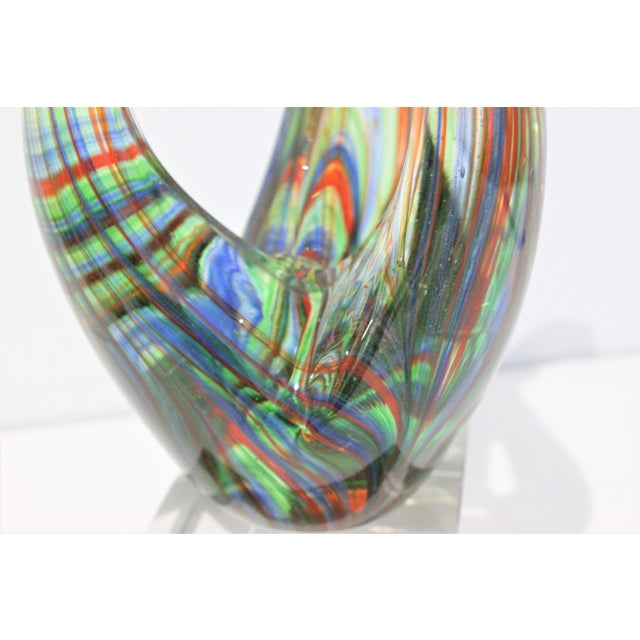 "Vintage Lucite Base ""Flame"" Sculpture Multicolored Glass Murano Style For Sale - Image 10 of 12"
