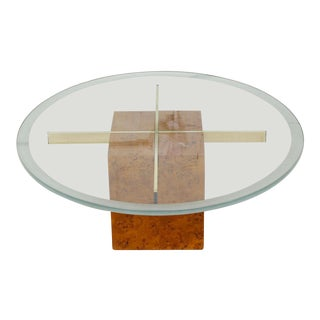 Milo Baughman X-Base Glass & Burled Wood Coffee Table For Sale