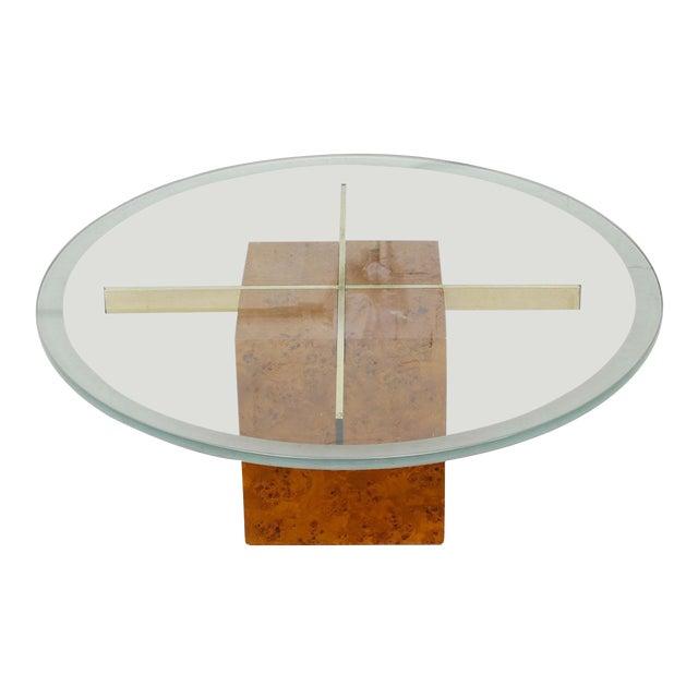 Milo Baughman X-Base Glass & Burled Wood Coffee Table For Sale