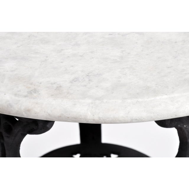 Round Table with Iron Legs and Marble Top - Image 7 of 11