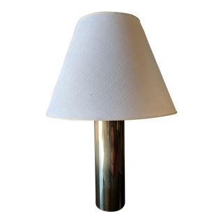 Single 1970's Large Vintage Brass Cylinder Lamp With Shade For Sale