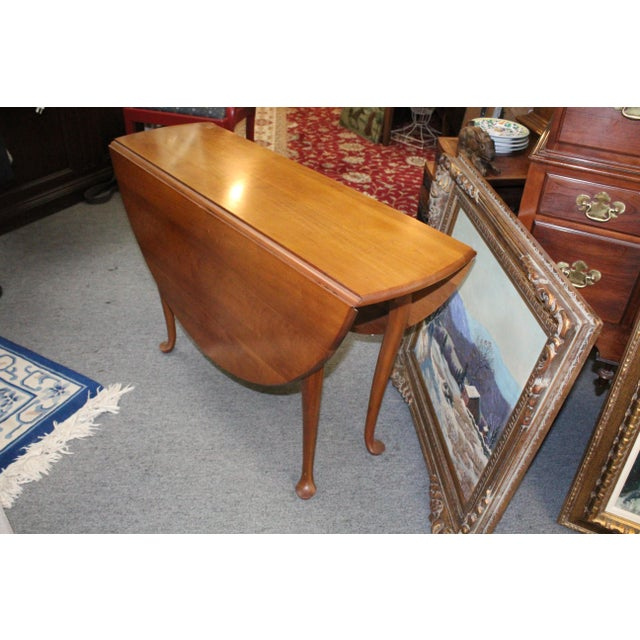 Mid 20th Century 20th Century Traditional Light Cherry Drop Leaf Table For Sale - Image 5 of 7