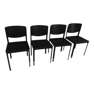 Matteo Grassi Black Leather Dining Chairs - Set of 4
