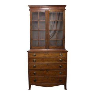 Antique 19th Century Georgian Walnut Butler's Secretary With Later Bookcase For Sale