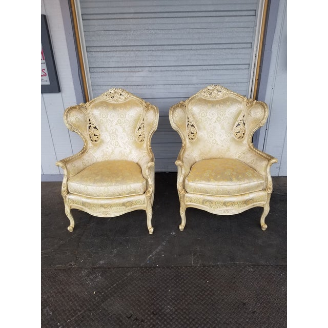 Vintage Victorian White Bergere Chairs - a Pair - Image 2 of 5