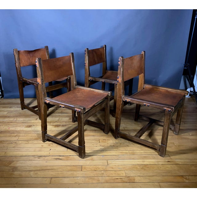 Four French 1940s Saddle Leather & Oak Dining Chairs For Sale - Image 13 of 13
