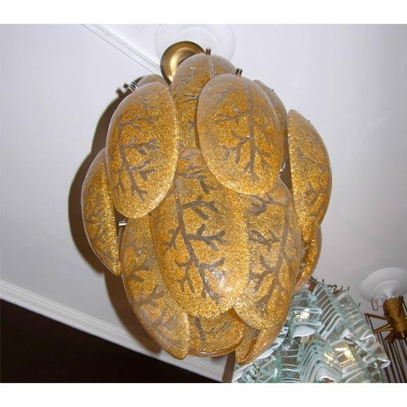 Mid-Century Modern Mazzega Gold Glass Chandelier For Sale - Image 3 of 4
