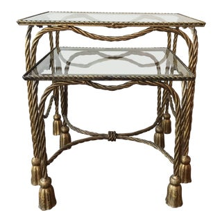 1960s Vintage Hollywood Regency Style French Rope and Tassel Nesting Tables - A Pair For Sale