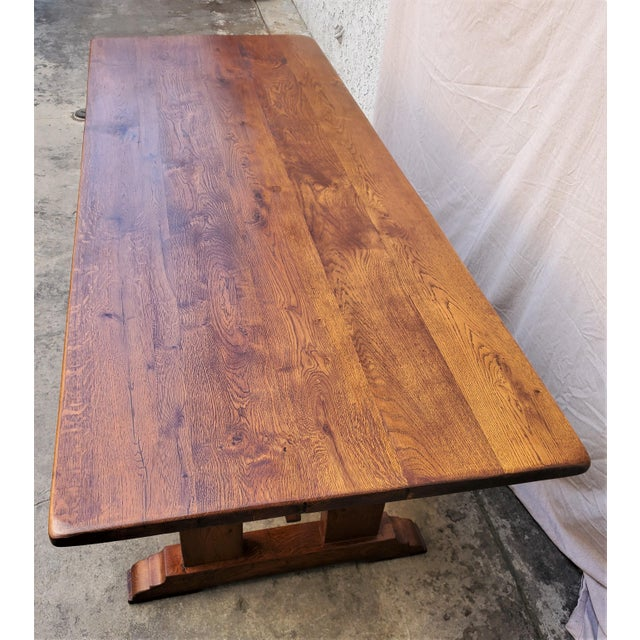 Wood Antique Plank Solid Oak Refectory Dining Table With Set of 6 Ladderback Chairs - 7 Pieces For Sale - Image 7 of 13