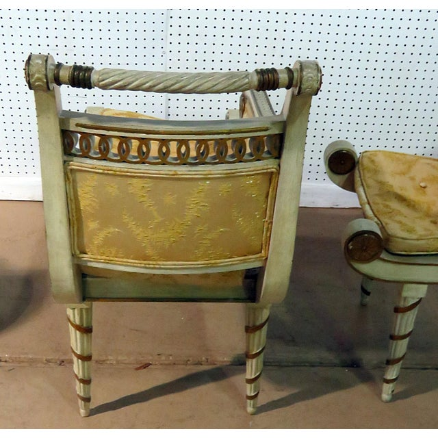 Early 20th Century Regency Style Distressed Painted Recamiers - a Pair For Sale - Image 5 of 10