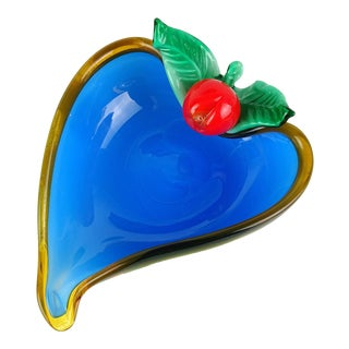 Murano White Blue Applied Cherry Italian Art Glass Heart Shape Dish Vide-Poche For Sale