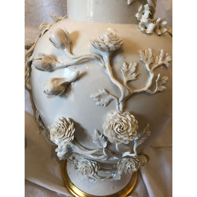 Pair of Large Chinese Blanc De Chine Porcelain Vase Lamps, Applied Flowers For Sale - Image 4 of 11