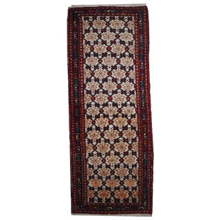 1960s Hand Made Vintage Persian Hamadan Runner - 2′7″ × 6′9″ For Sale