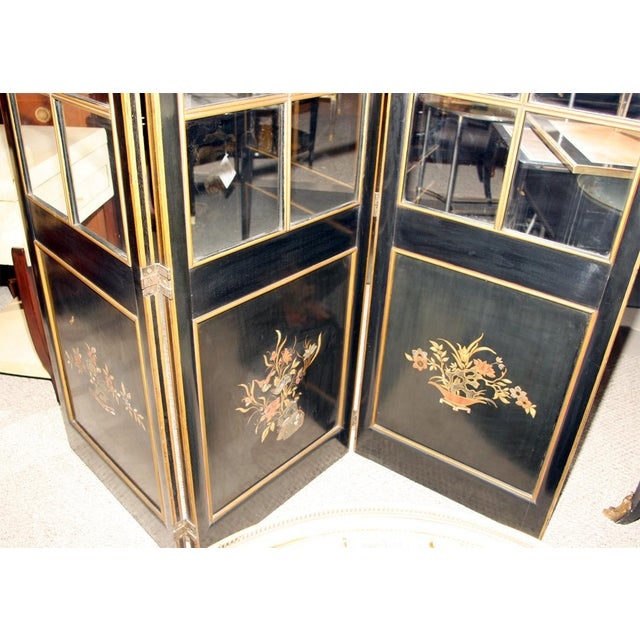 Jansen 3-Panel Chinoiserie Glass Screen - Image 8 of 9