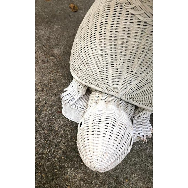 1960s White Wicker Turtle Floor Lamp For Sale In New Orleans - Image 6 of 11