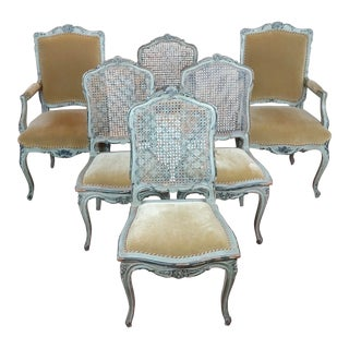 19th Century French Painted Dining Chairs - Set of 6 For Sale