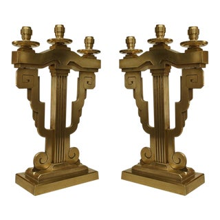 Pair of American Art Deco Bronze 3 Arm Candelabra For Sale