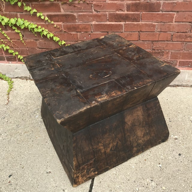 Wood Industrial Chic Antique Table For Sale - Image 7 of 9