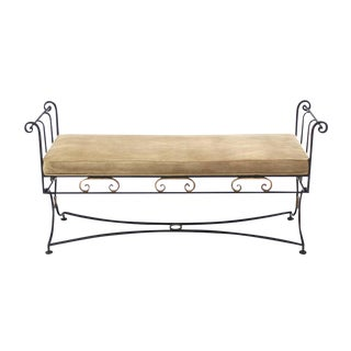 Wrought Iron Fine Ornate Design Hollywood Regency Window Bench For Sale