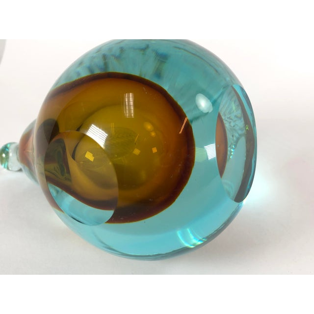 Murano Vintage Art Glass Blue and Yellow Pear Sculpture by Dino Martens For Sale - Image 4 of 6