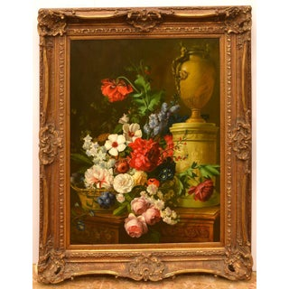 Large Neo-Classical Style Floral Still Life Oil Painting For Sale