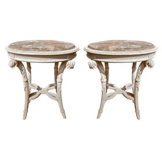 Pair of Neoclassical Painted Marble Top Gueridons or End Tables For Sale