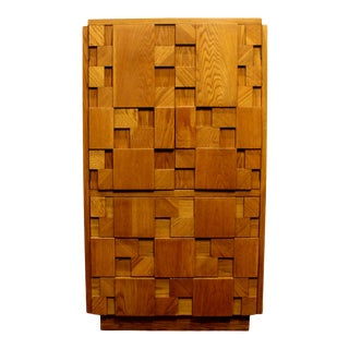 1970s Mid-Century Modern Brutalist Mosaic Patchwork Tall Chest by Lane in Oak For Sale