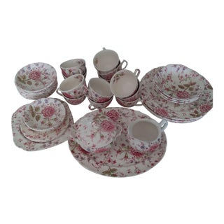 Vintage Johnson Brothers Rose Chintz Pink Dinnerware - Set of 36 For Sale