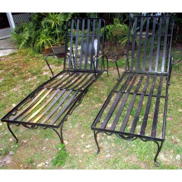 1960s Mid-Century Modern Iron Woodard Outdoor Chaise Lounges - a Pair For Sale - Image 9 of 9