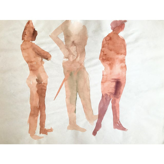 1970s Watercolor Figurative Nude Painting Bay Area Artist For Sale