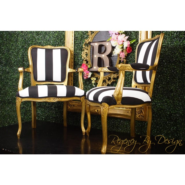 Vintage Louis XV Style Gold Black and White Stripe Chairs - a Pair For Sale - Image 4 of 5