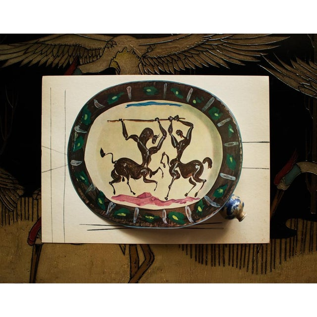 Abstract 1955 Pablo Picasso Satyr and Centaur Ceramic Plate, Original Period Swiss Lithograph For Sale - Image 3 of 6