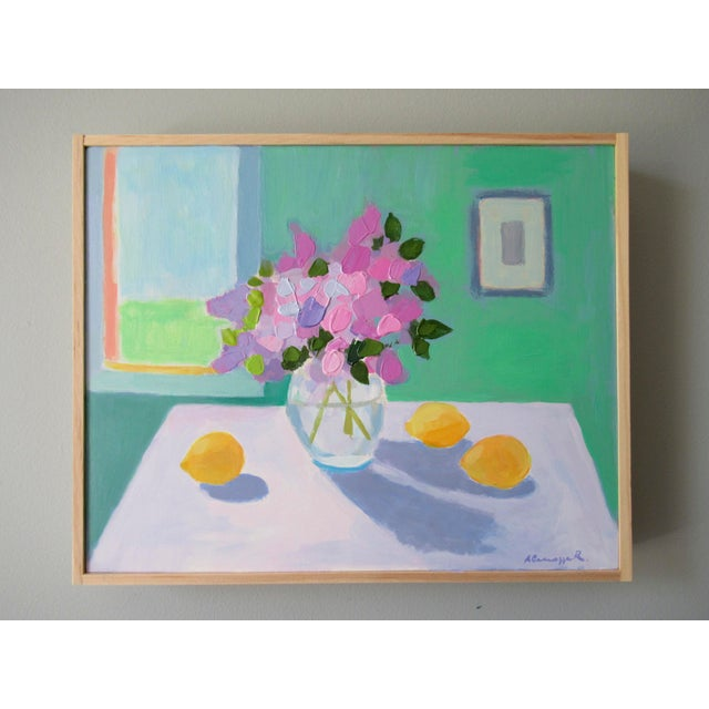 The lilacs are from my garden. I painted this with Van Gogh and Matisse as my influence. A semi-abstract still life,...