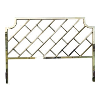 Vintage Chinoiserie Brass California King Headboard For Sale