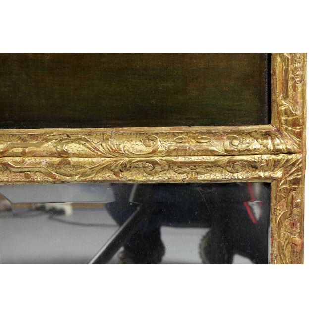 Brown Georgian Giltwood Overmantle Mirror with Oil on Canvas Pastoral Scene Painting For Sale - Image 8 of 11