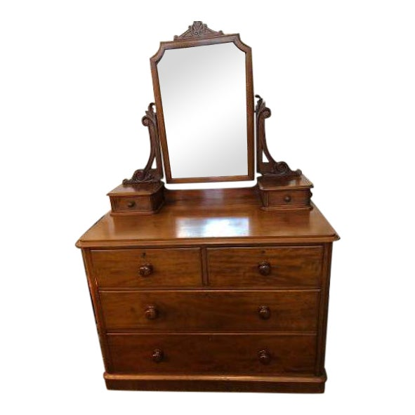 English Antique Mahogany Chest of Drawers With Swing Mirror For Sale